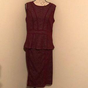 New York And Company Peplum Skirt Set Maroon Large